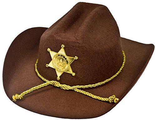 Cowboy-Hut, amerikanischer Sheriffstern, aus braunem Filz, Sheriffstern in Gold, aus Kunststoff