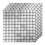 LEISIME - Papel Pintado Autoadhesivo para Azulejos, Acabado metálico Cepillado, 30 x 30 cm (Plateado 10 Unidades)