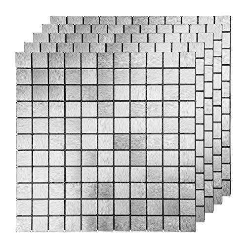 LEISIME Fliesenaufkleber Tapete Selbstklebend, Klebefliesen Gebürstetes Metall-Finish 3D Wandpaneele Küchen Badezimmer 30 x 30cm (Silber 10 Stück)