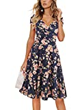 oxiuly Women's V-Neck Cap Sleeve Floral Casual Work Stretchy Swing Dress OX233 (M, Navy Blue Floral)