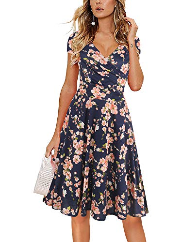 oxiuly Women's V-Neck Cap Sleeve Floral Casual Work Stretchy Swing Dress OX233 (XL, Navy Blue Floral)