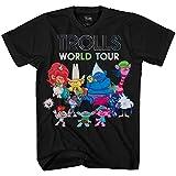 DreamWorks Trolls Boy's World Tour Movie Characters T-Shirt, Black/Multi, Large