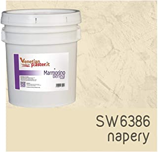 FirmoLux Marmorino Berlina Venetian Plaster | Smooth Plaster | Made in Italy from Lime, Marble & Other Natural Aggregates | Light Tan Colors (5) | Color: SW6386 Napery