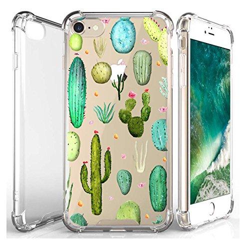JammyLizarD Hülle für Apple iPhone 8 & iPhone 7 | Transparente Schutzhülle [SkyClear Serie] Durchsichtige Handyhülle mit Motiv Hard Hülle Backcover mit Silikon-Bumper in Crystal Clear, Kaktus