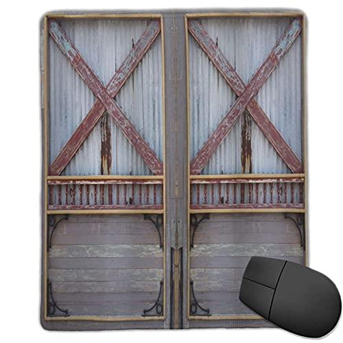 VINISATH Alfombrilla Raton Imagen de Puerta de Madera de Estilo Industrial de Zinc Ventana de construcción de Calle Cubierta con Imagen de tablón Alfombrilla Gaming Alfombrilla para computadora
