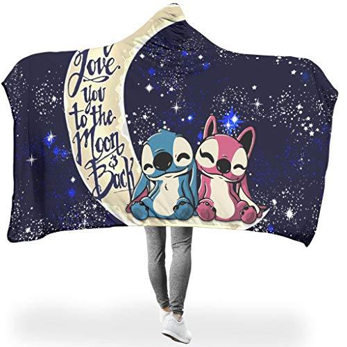 Annlotte Stitchy Moon - Sudadera con capucha para niños y niñas, color blanco, 130 x 150 cm