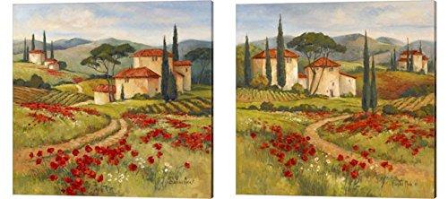 Tuscan Dream by Barbara Mock, 2 Piece Canvas Art Set, 14 X 14 Inches Each, Landscape Art