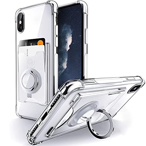 Shields Up Designed for iPhone X Case, iPhone Xs Case, Minimalist Wallet Case with Card Holder and Ring Kickstand/Stand, [Drop Protection] Slim Protective Cover Apple iPhone X/Xs - Clear