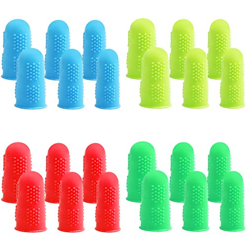 24 Pieces Silicone Finger Protectors for Hot Glue Gun, Finger Caps Guards Wax Rosin Resin Honey Adhesives Scrapbooking Sewing Crafts Ironing Embroidery Accessories in 3 Sizes-Small, Medium, Large