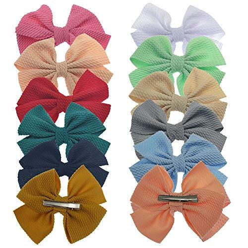 Baby Girl Bow Headbands Newborn Infant Toddler Hairband Nylon Elastic Headwraps for Children Hair Accessories (Clip01-12pcs)