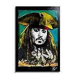 Jack Sparrow de la película Piratas del Caribe (Pirates of The Caribbean) - Pintura Enmarcado Origin...
