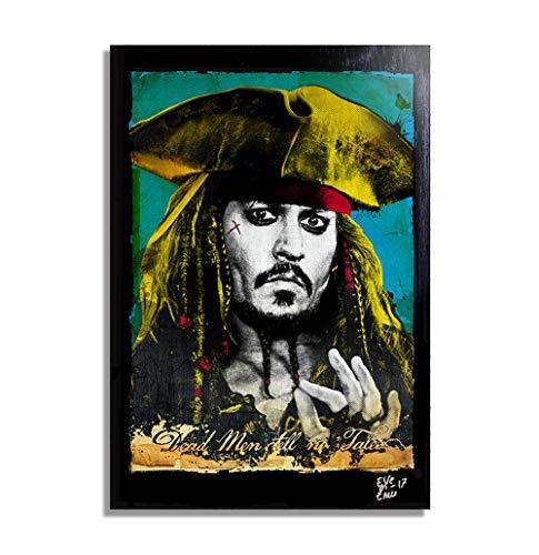 Jack Sparrow de la película Piratas del Caribe (Pirates of The Caribbean) - Pintura Enmarcado Original, Imagen Pop-Art, Impresión Póster, Impresion en Lienzo, Cuadro, Cómics, Cartel de la Película