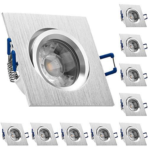 10er LED Einbaustrahler Set Bicolor (chrom / gebürstet) mit COB LED GU10 Markenstrahler von LEDANDO - 5W DIMMBAR - warmweiss - 40° Abstrahlwinkel - schwenkbar - 50W Ersatz - A+ - COB LED Spot 5 Watt - Einbauleuchte LED eckig