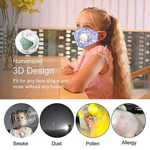 2 Pack Kids Reusable Cotton Cover with Breathing Valve, Adjustable Ear Loops with 4 Pcs Replacement Filters for Kids Children