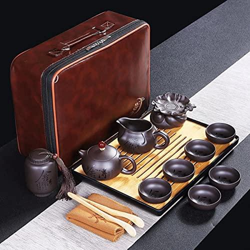 Uioy Juego de té de Kungfu Chino, Tetera de cerámica portátil con 6 Tazas de té y colador, for el Servicio de té de Picnic de Hotel de Negocios (Color : B)