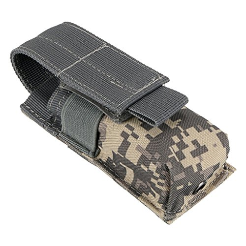 Funda o estuche para linterna y pilas, blanda, nailon, impermeable, estilo militar, ACU Camo, 14X5.5X4CM