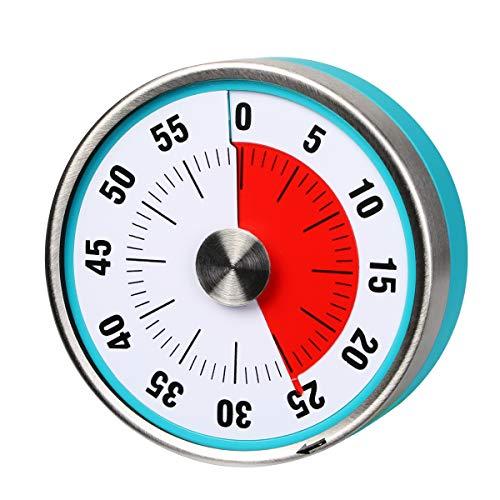 AIMILAR - Temporizador mecánico magnético de cocina con temporizador de cuenta atrás visual de 60 minutos con alarma fuerte para niños y adultos horneado, barbacoa, al vapor azul