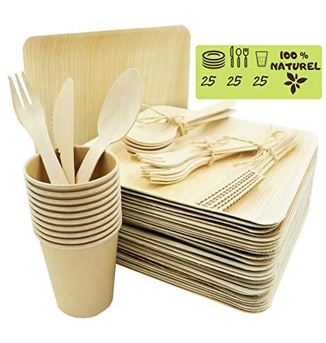 Bio Wary - Piatto monouso biodegradabile e compostabile, 25 piatti monouso in foglia di palma, 25 posate forchette, coltelli e cucchiai in legno, 25 bicchieri in cartone usa e getta
