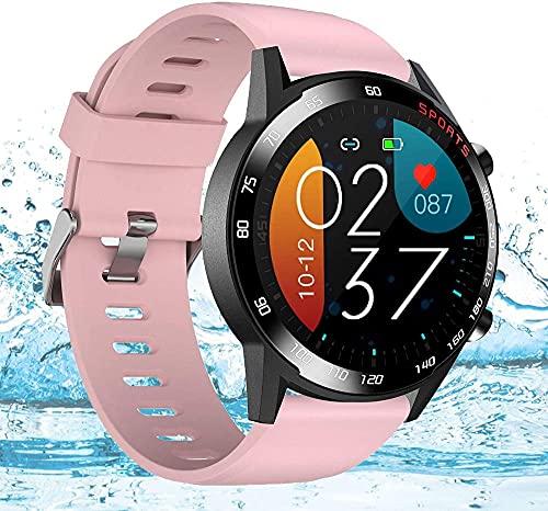 Orologio intelligente impermeabile sport fitness orologio 1.3 touch screen activity tracker con cardiofrequenzimetro monitoraggio del sonno contapassi calorie contatore-rosa