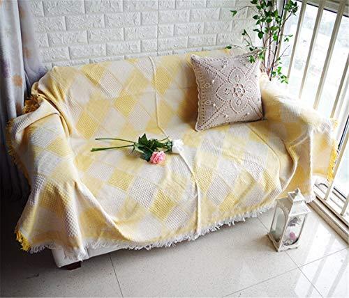 Manta de tiro de punto amarillo grueso grueso para silla de sofá sofá cama, estilo boho chic canasta texturizado tejido de textura manta con franja decorativa,230 * 250cm