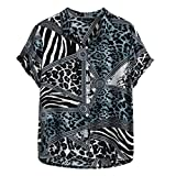 Camicia Top Tavola da Surf Longboard Camicia Hawaiana Summer Fashion Pannello con Risvolto a Righe Leopard Stampato Manica Corta da Uomo (XL,1- Blu)