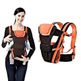 ROYALS CHOICE Adjustable 4-in-1 Baby Carrier with Comfortable Head Support & Buckle Straps with Waist Belt (Black & Orange)