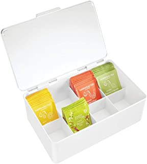 mDesign Stackable Plastic Tea Bag Holder Storage Bin Box for Kitchen Cabinets, Countertops, Pantry - Organizer Holds Beverage Bags, Cups, Pods, Packets, Condiment Accessories - White/Clear