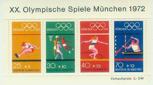 XX. Olympische Spiele München 1972 - postfrisch 25+5/30+10/40+10/70+10 Pf./Pfennige [Briefmarken]