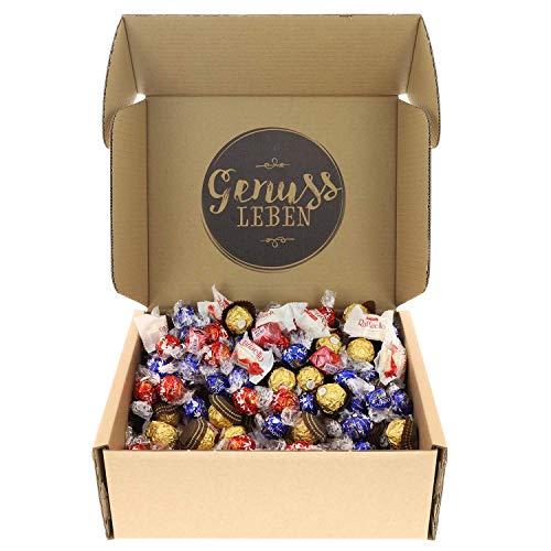 Genussleben Geschenkbox mit Ferrero Rocher, Raffaello, Lindor und Mon Cheri, Großpackung Schokolade, Geschenkidee Süßigkeiten
