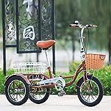 ZJZ Triciclo para Adultos de 24 Pulgadas, Bicicletas de 3 Ruedas con Triciclo de Canasta Grande, Manillar Ajustable, Bicicleta de una Velocidad, Azul