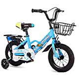 Xiaotian Absorción de choques Bicicleta para niños en Interiores Chico Chica Deportes Bicicleta Carretera Niños Triciclo Viaje en Bicicleta al Aire Libre -3 a 15 años,Blue,16inches