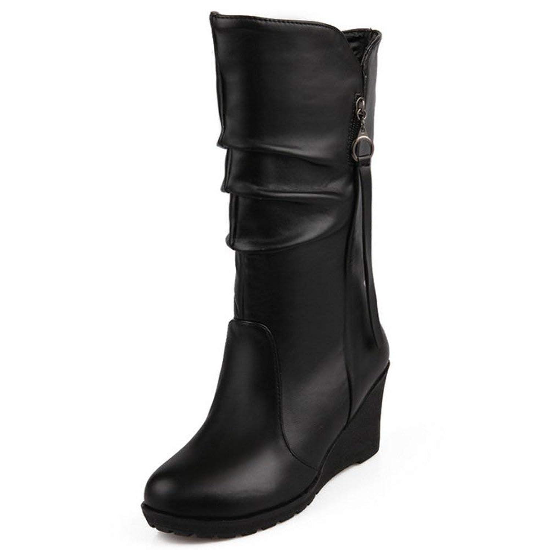 [Unm] レディーズ クラシック あき ふゆ 靴 くさびs ハイヒール 半ば-Calf ブーツ