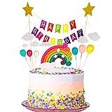 upain Decoración para Tartas Arco Iris, Decoración de Pasteles, Cupcake Toppers con Cloud Rainbow Star, Globos de Colores Tarjeta de Feliz Cumpleaños Kit, para Infantiles Niños Niñas Tartas Cumpleaños