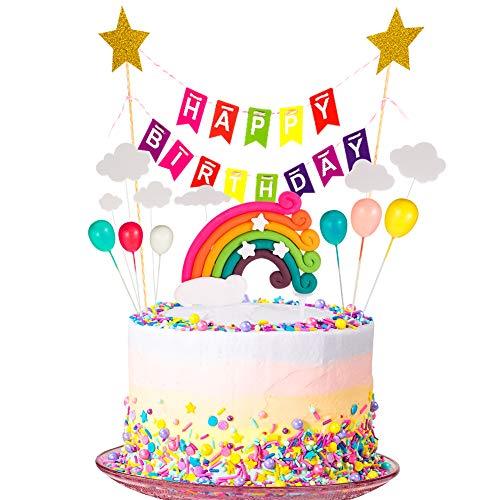 You&Lemon Tortendeko Geburtstag, Cake Topper Tortendekoration kuchendeko, Tortendeko Geburtstag Set einschließlich Regenbogen, Ballon, Happy Birthday, Wolke für Kinder Geburtstag Baby Shower