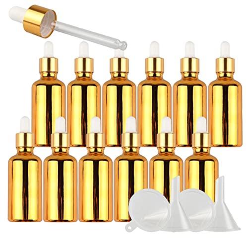 TIANZD 24 Pieza 50mlOro Botellas de Cristal con Pipeta,50 ml Frasco Cuentagotas Cristalcon Tapón de Rosca Oro, Botella de Vidrio con Cuentagotas para Aceite Esencial Aromaterapia