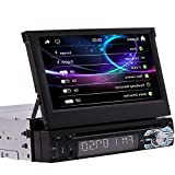 EINCAR Single Din Stereo 7 Inch Touch Screen Car Head Unit Bluetooth Radio CD DVD Player GPS Navigation System In Dash Support AM FM Reciever Steering Wheel Control USB/SD With Free 8GB GPS Map