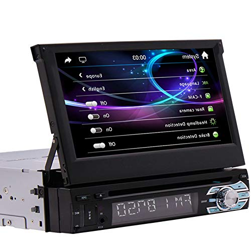 Single Din Stereo 7 Inch Touch Screen Car Head Unit Bluetooth Radio CD DVD Player GPS Navigation System in Dash Support AM FM Reciever Steering Wheel Control USB/SD with Free 8GB GPS Map
