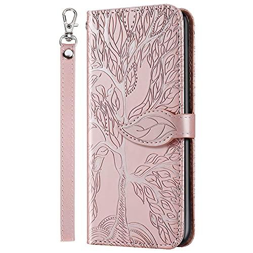 XYX Capa tipo carteira compatível com Samsung A02, capa padrão árvore da vida para Samsung Galaxy A02 - ouro rosa