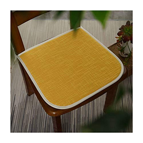 JLWM Chair Pad Solid Color for Dining Chair, Seat Cushion Cotton Linen Breathable Sponge Seat Pad Chair Cushion with Ties Not-Slip Square-yellow-40x40cm
