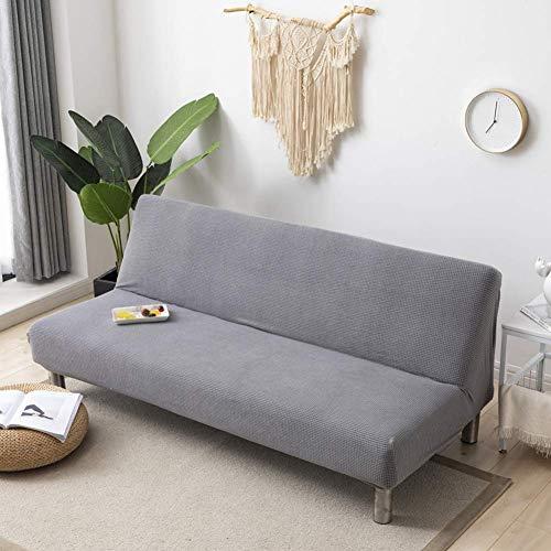 XHNXHN Funda de futón sin Brazos Funda elástica para sofá, Funda para sofá Cama de 2 plazas, Funda de sofá de Jacquard de Spandex, Protector Antideslizante para Muebles para Perros, Gris Claro 47-5