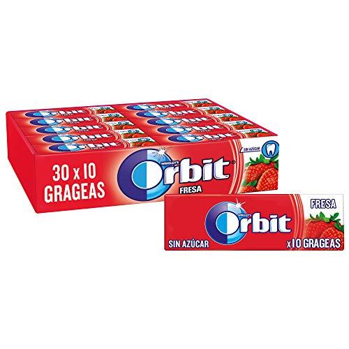 Orbit Chicles Sin Azúcar Sabor Fresa, Afrutado, Intenso y de Larga Duración en formato Gragea (30 paquetes...