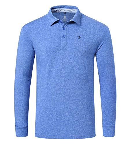 YSENTO Herren Poloshirts Langarm Atmungaktives Sport Schnelltrocknend Outdoor Freizeit Polohemd Golf Shirt mit Polokragen(Dunkelblau,XL)
