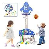 JHTOPJH 5-in-1 Basketball Hoop for Kids Toddler Basketball Hoop Sports Indoor Outdoor Adjustable Play Set for Children w/ Soccer Goal, Ring Toss, Darts, Golf (Blue)