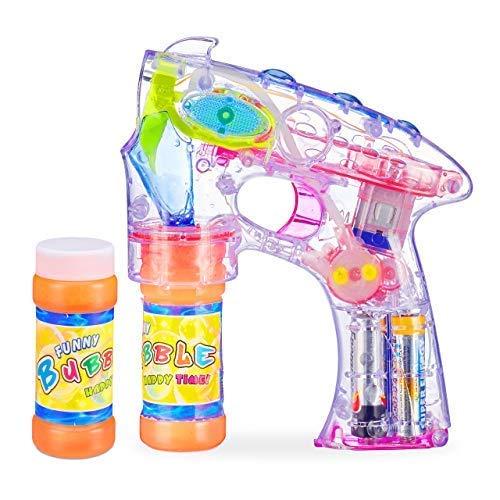 Relaxdays Seifenblasenpistole LED, batteriebetrieben, mit 2X Seifenblasen Flüssigkeit, Kinder & Erwachsene, transparent