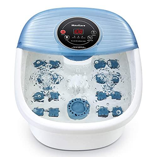 Maxkare - Massaggiatore per pediluvio, con calore e vibrazioni, controllo della temperatura, per pedicure e pedicure con 16 rulli massaggianti rilassanti piedi...
