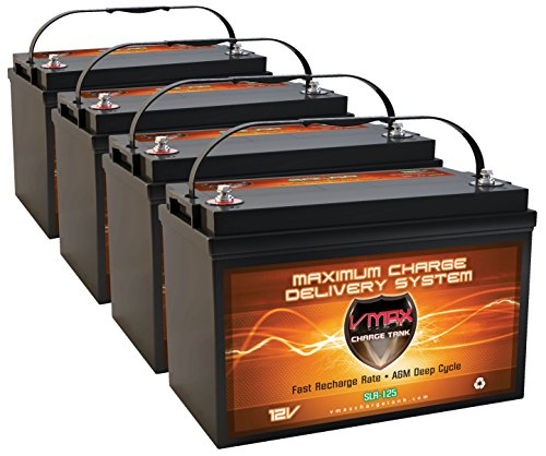 VMAX Solar VMAXSLR125-4 best battery for rv solar system, AGM Solar Battery (4 x SLR125 VMAX Batteries)