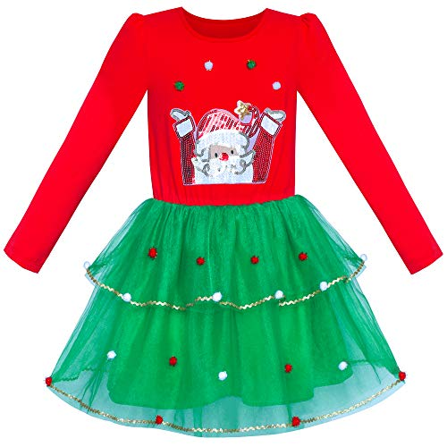 Vestido para niña Navidad Papá Manga Larga Fiesta 6 años