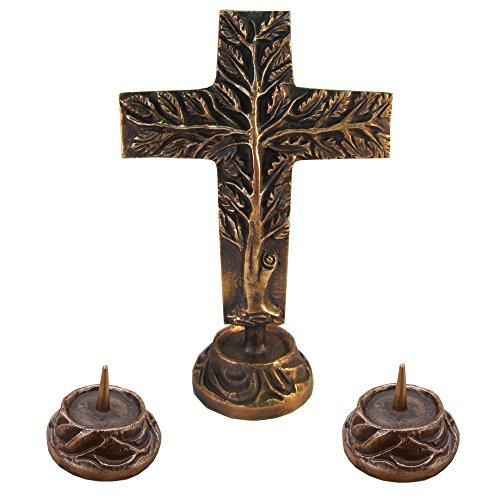 Wilde Versehgarnitur Bronze Stehkreuz Lebensbaum doppelseitig Bronze Kreuz 24 cm 2 Kerzenleuchter