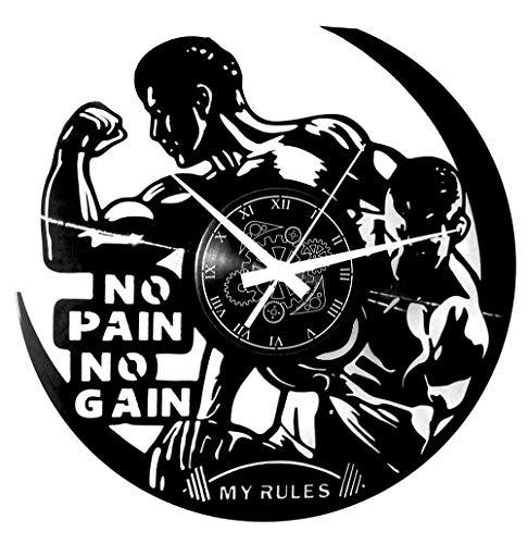 Reloj de pared de vinilo Vintage Handmade Workout Gym Sport Fitness Gimnasio Sin dolor Sin ganancia
