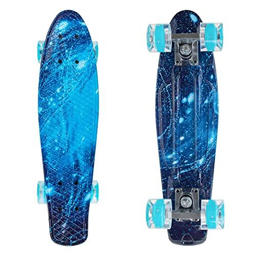 Nattork Skateboards Complete 22 Inch Mini Cruiser Retro Skateboard with Colorful Light Up Wheels for Kids Girls Boys Beginners